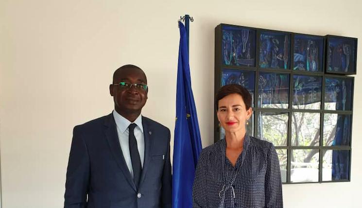 Jeudi 28 mars 2019,M. Papa Birama Thiam effectue une visite de courtoisie et de travail avec S.E Mme Irène Mingasson Ambassadrice de l'Union européenne au Sénégal